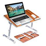 [Large Size] Neetto TB101L Adjustable Laptop Bed Table, Portable Standing Desk, Foldable Sofa Breakfast Tray, Notebook Stand Reading Holder for Couch Floor Kids - American Cherry