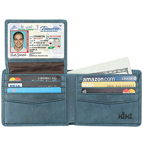Wallet for Men-Genuine Leather RFID Blocking Bifold Stylish Wallet With 2 ID Window (Ocean Blue)