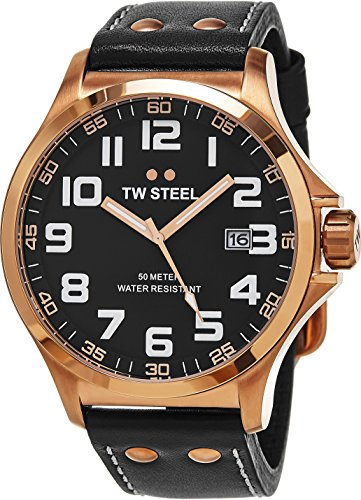 51TKCn%2BdMZL Brushed PVD plated rose gold stainless steel case (48 mm in diameter, 14 mm thick), Screw-down case-back with embossed TW Steel logo, Polished PVD rose gold bezel Black dial with TW Steel logo at the 12 o'clock position, Rose gold luminescent hands with sweep seconds hand, White luminescent Arabic numerals Date window at the 3 o'clock position, Mineral crystal