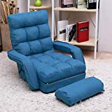 Merax Pil Sofa Lounger Bed with Armrests and a Pillow, (Blue)