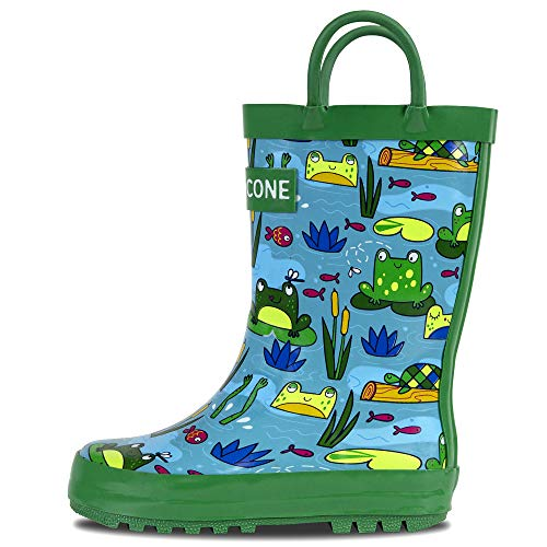 LONECONE Rain Boots with Easy-On Handles in Fun Patterns for Toddlers and Kids, Frog Pond, 8 Toddler