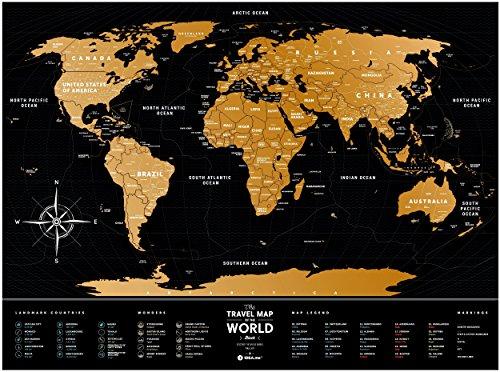 Black Scratch Off Travel World Map Premium Edition 31 5 X 23 6