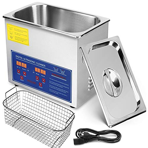 Mophorn Ultrasonic Cleaner 3L Total 220W Commercial Ultrasonic Cleaner Professional Stainless Steel Industrial Ultrasonic Cleaner Jewelry Cleaner with Heater Timer(3L)