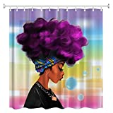 ZBLX Women Black Shower Curtain African Women with Purple Hair Hairstyle- Waterproof Resistant Fabric Polyester 100% Shower Curtain.。