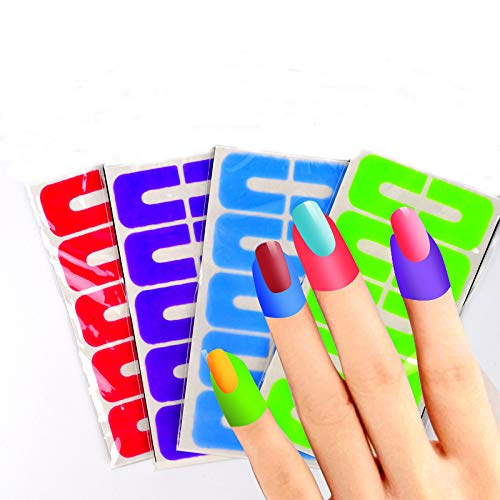 JACA 10 Pack 100 Piece Soft Plastic Nail Polish Protector Spill-proof Stickers Manicure Tool Anti Overflow Stick U Type Oil Spill Protector Nail Art Tool To Keep Polishing Without Mess