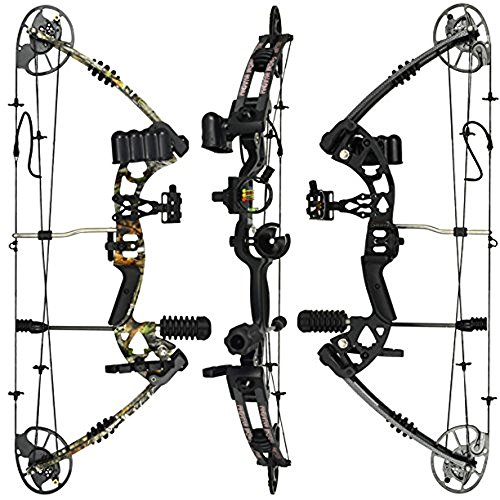 """RAPTOR Compound Hunting Bow Kit: LIMBS MADE IN USA   Fully adjustable 24.5-31"""" Draw 30-70LB pull   Up to 315 FPS   WARRANTY & 100% 30 day GUARANTEE   5 Pin Lighted Sight, Biscuit Rest   Camo 2"""