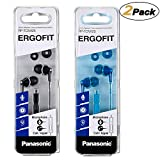 Panasonic ErgoFit Earbud Headphones with Mic and Controller RP-TCM125-K/A, (Black+Blue) [2Pack]