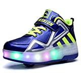 Ufatansy Uforme Kids Boys Girls High-Top Shoes LED Light Up Sneakers Single Wheel Double Wheel Roller Skate Shoes(13 M US =CN31, Blue-Double Wheels)