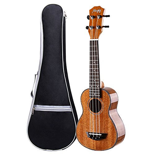 Ukulele, Concert Ukulele 23 inch, Mahogany Polished Ukulele, 4 String with Aquila Strings Hawaii Guitar Carry bag by Mugig