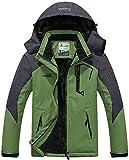 MAGCOMSEN Men Outdoor Jacket Waterproof Jacket Fleece Snowboarding Jacket Hiking Camping Jacket Fishing Hunting Coat Breathable Skiing Jacket Olive Green