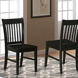 East West Furniture Norfolk kitchen chairs – Wooden Seat and Black Solid wood Structure wooden dining chair set of 2