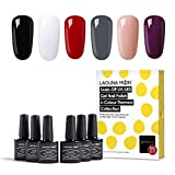 Lagunamoon Gel Nail Polish Set UV LED Soak Off Gel Nail Colours Varnish Nail Art Kit 6PCS
