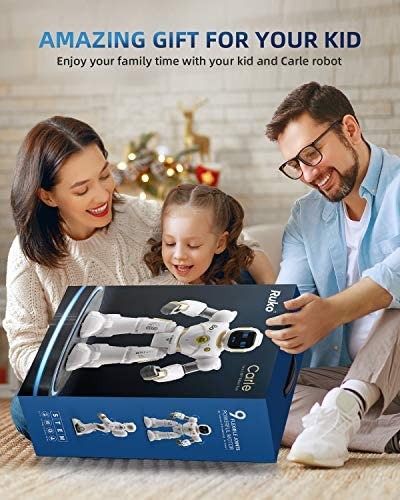 Ruko AI Robots for Kids, Large Programmable RC Robot Toy with APP Control Voice Command Touch Response Bluetooth Speaker Emoji for 3-12 Years Old Boys Girls (Golden) 19