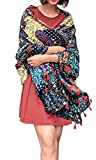 Women's Boho Bohemian Soft Blanket Oversized Fringed Scarf Wraps Shawl Sheer Gift (16)