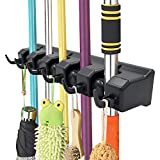 IMILLET Mop and Broom Holder, Wall Mounted Organizer-Mop and Broom Storage Tool Rack with 5 Position and 6 Hooks Storage Hooks for Kitchen, Laundry, Offices, Garage and Garden (Black) (One Pack)