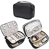 Teamoy Jewelry Travel Case, Jewelry & Accessories Holder Organizer for Necklace, Earrings, Rings, Watch and More, Roomy, Compact and Portable, Black