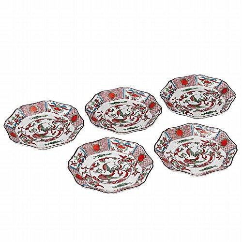 Jpanese traditional ceramic Kutani ware. Set of 5. Plates Dishes. Red phoenix. With paper box. ktn-K5-0146
