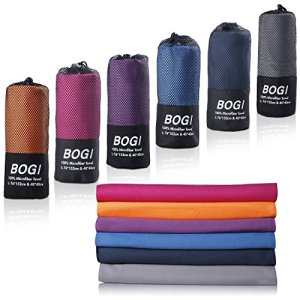 BOGI Microfiber Travel Sports Towel-(Size: S M L XL)- Dry Fast Soft Lightweight Absorbent&Ultra Compact-Perfect for Camping Gym Beach Bath Yoga Backpacking Fitness +Gift Bag&Carabiner