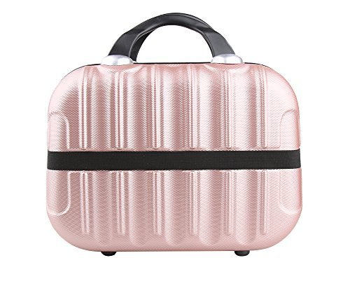 Genda 2Archer Hard Shell Cosmetic Carrying Case Small Hardshell Travel Hand Luggage (Rose Gold)