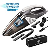 Helteko Car Vacuum Cleaner DC 12V - High Power Portable Hand Vacuum Cleaner with Stainless Steel HEPA Filter and LED Light - 120W Corded Car Vac with 3 Accessories and Carrying Bag