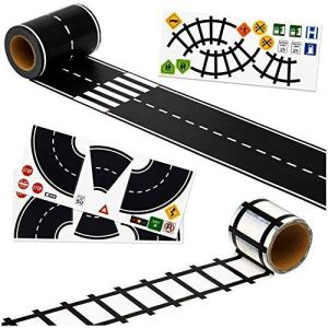 Imaginative Road Tape, Adhesive Train Tracks with Traffic Signs and Curved Roads. 57 feet of Fun for Kids of All Ages. 3 inch Wide Road. let Them Learn and Imagine While Playing. 51Tc6 2Ba8hsL
