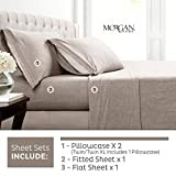 Morgan Home Cotton Rich T-Shirt Soft Heather Jersey Knit Sheet Set - All Season Bed Sheets, Warm and Cozy (Queen, Heather Taupe)
