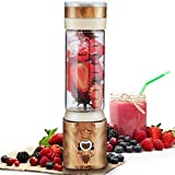 Blender Portable, Travel Personal Juice Cup for Shakes and Smoothies - USB Rechargeable Multifunctional Mini Glass Blender with 6 Stainless Steel Blades for Juice Protein Shake Baby Food, FDA BPA Free