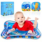 Inflatable Tummy Time Water Play Mat Infants & Toddlers, Omew Baby Water Mat Playmat Patted Pad Prostrate Water Cushion with 2 Bath Books-Perfect Fun Time Activity Center for Baby's Stimulation Growth