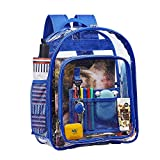 Heavy Duty Clear Backpack, Transparent Backpack, See Through Bookbag with Laptop Sleeve and Extra-Padded Shoulder Straps for College, Work and Travel