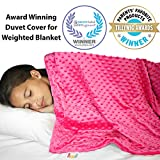 "Weighted Blanket Duvet Cover 48""x 72"" - Cooling Bamboo and Soft Minky Dot - Removable Duvet Cover for Hot and Cold Nights - Weighted Blanket Not Included"