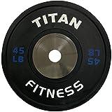 Single Titan Elite Olympic Bumper Plates - 45 LB (Black/Blue)