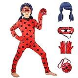 GREATCHILDREN Ladybug Girls Costume Cosplay Jumpsuit for Halloween Birthday Party Set 5pcs/Bag