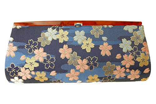 "Sakura Pattern""Cherry Blossoms""- Clutch Bag, Nishijin KINRAN Navy Blue"