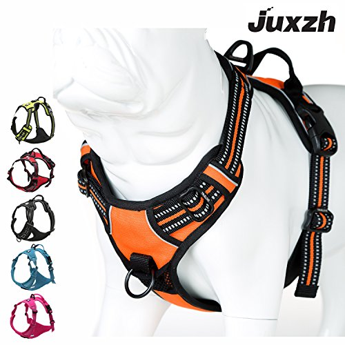 JUXZH Truelove Soft Front Dog Harness .Best Reflective No Pull Harness with Handle and Two Leash Attachments 1