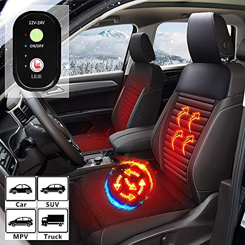 WARMITORY Heated Car Seat Cushion - Universial Car Seat Warmer with 3 Levels Intelligent Heating, 12V/24V Heated Auto Seat Cushion Cover for Car Truck SUV MPV Front Chair - Leatheret