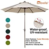 Abba Patio Sunbrella Patio 9 Feet Outdoor Market Table Umbrella with Auto Tilt and Crank, 9', Canvas Aruba
