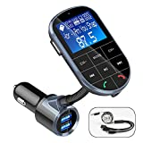 Bluetooth FM Transmitter for Car,IEhotti 1.44' Display Car Bluetooth Radio Adapter Car Kit w/3 USB Ports,Fast Charge,HandsFree Calling,Support Bluetooth/U Disk/AUX/TF-Card,Car MP3 Player for Most Cars