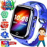 [SIM Card Included] Kids Smart Watch Phone IP67 Waterproof GPS Tracker for Boys Girls with 1.5' Touch Screen SOS Two-Way Call Voice Chat Games Camera Alarm Clock Learning Toy Holiday Birthday Gift