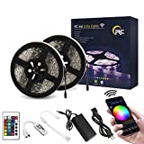 RC LED Strip Lights 32.8ft IP65 Waterproof 300LEDs SMD5050 RGB WiFi Wireless LED Controller 24Key IR Remote Works with Android,iOS System,Alexa,IFTTT and Google Assistant