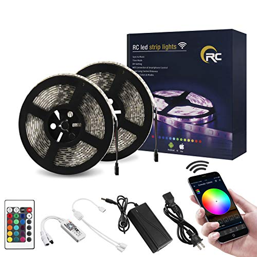 RC WiFi Wireless LED Strip Lights, Color Changing 32.8ft IP65 Waterproof Flexible Light Strips SMD5050 300LEDs with RGB Smart Controller 24Key IR Remote, Works with Android, iOS, Alexa, Siri, IFTTT
