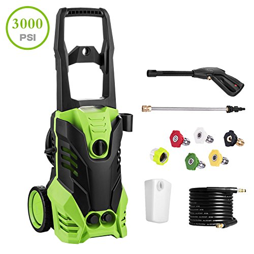 Flagup 3000 PSI Electric Pressure Washer 1800W High Pressure Power Washer Machine + 5 Interchangeable Nozzles(1.8GPM)