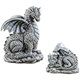 Collections Etc Mother and Baby Dragons Statue Set, Outdoor Garden Décor or Indoor, 2 pc