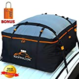 RoofPax Car Roof Bag & Rooftop Cargo Carrier – 19 Cubic Feet Heavy Duty Bag, 100% Waterproof Excellent Military Quality Roof-Top Car Bag - Fits All Cars With/Without Rack - 4 Door Hooks Included