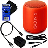 Sony Wireless Portable Bluetooth Speaker (XB10) with Extra Bass & Water-Resistance Design (Red) + USB Charging Cable + Wall Adapter + Aux Cable + HeroFiber Ultra Gentle Cleaning Cloth