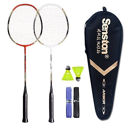Senston 2 Player Badminton Racket Set Double Rackets - Including 1 Badminton Bag/2 Rackets/2 Shuttlecocks/2 Grip