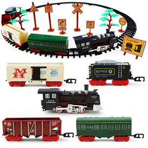 Boley Classic American Model Train Set – Play Toy Train Set with Tracks, Lights, Sounds, Road Signs, and Trees – 56 Pieces 51TqFnQg9zL