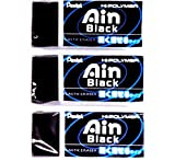 Pentel Ain Regular Size Eraser, Black (ZEAH06A), Pack of 3 (Japan Import) [Komainu-Dou Original Package]