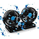 AboveTEK 12V DC Electric Car Fan - 2 Speed Fans 12 Volt Cigarette Lighter Socket - Quiet Strong Dashboard Cooling Fan for Sedan SUV RV Boat Auto Vehicles - Effectively Blow Out Hot Air, Smoke, Odors