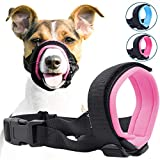 Gentle Muzzle Guard for Dogs - Prevents Biting and Unwanted Chewing Safely - New Secure Comfort Fit - Soft Neoprene Padding - No More Chafing - Training Guide Helps Build Bonds with Pet (M, Pink)