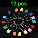 JAGENIE 12 pcs Colors Safety Locking Baby Cloth Nappy Diaper Craft Pins